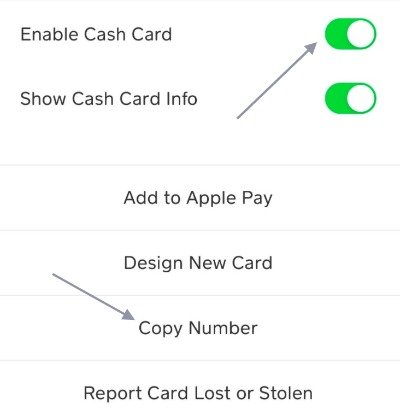 cash app copy number