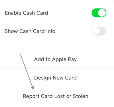 cash app report stolen card
